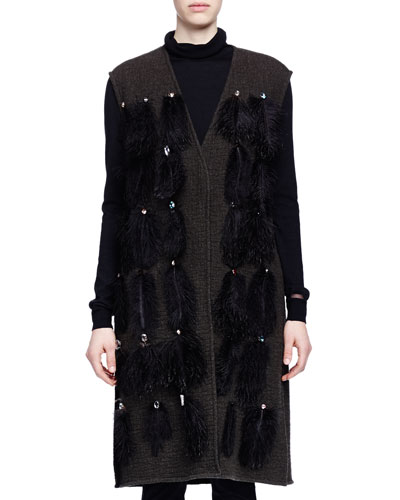 Ostrich Feather-Embellished Long Vest