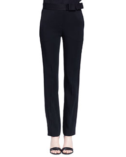 Bow-Detailed Slim-Fit Tuxedo Trouser