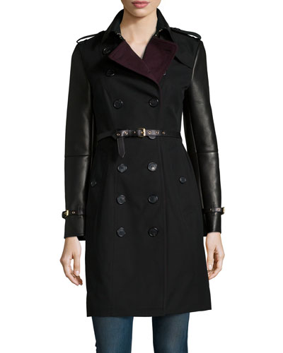 Pemberly Leather-Sleeve Trenchcoat