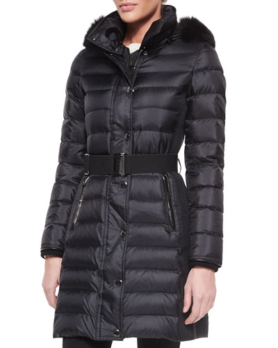 Fur-Trimmed Hooded Quilted Coat