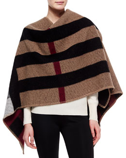 Mega Check Cape, Black/Brown