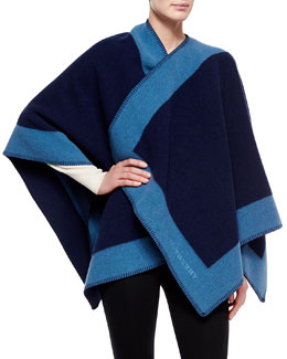 Wool-Cashmere Border Trimmed Cape, Blue