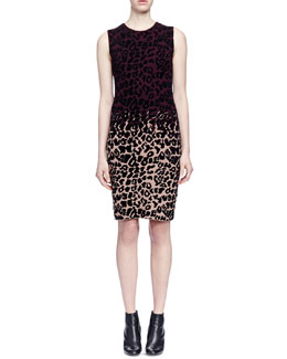 Colorblock Leopard-Print Sheath Dress