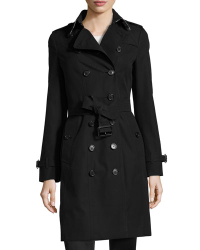 Sandringham Long Slim Trenchcoat, Black