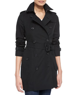 Kensington Mid Modern-Fit Long Woven Trenchcoat, Black
