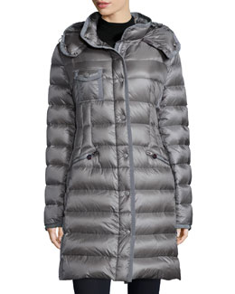Hermine Hooded Stripe-Quilted Puffer Coat