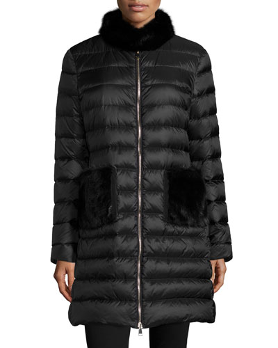 Ancy Quilted Puffer Coat w/Mink Fur Trim, Black