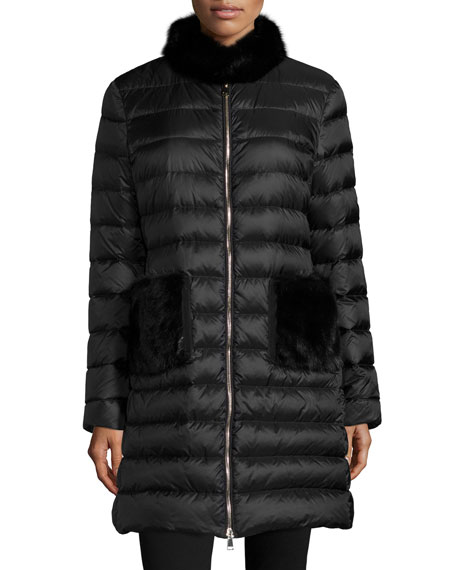 Moncler Ancy Padded Moncler- Black Feather coat