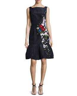 Embroidered Silk Faille Flounce-Hem Dress, Navy