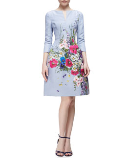 Three-Quarter-Sleeve Floral-Print Fit-And-Flare Dress