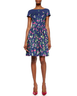 Short-Sleeve Floral-Print Pleated Dress