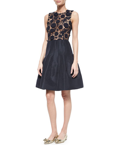 Dahlia Lace Combo Fit-And-Flare Dress