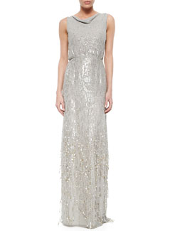 Cascading Sequined Cowl-Back Gown