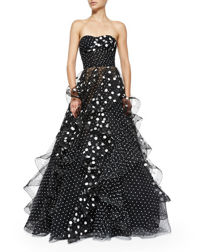 Strapless Sweetheart Polka-Dot Gown