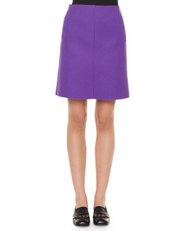Textured Woven A-Line Skirt, Purple