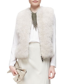 Goat Fur Zip-Front Vest
