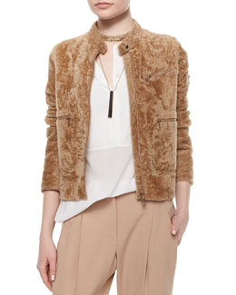 Shearling Fur Pocket-Detailed Jacket