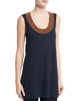Long Scoop-Neck Wool Tank Top, Brown