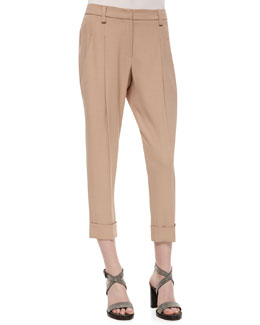 Woven Relaxed-Fit Ankle Pants