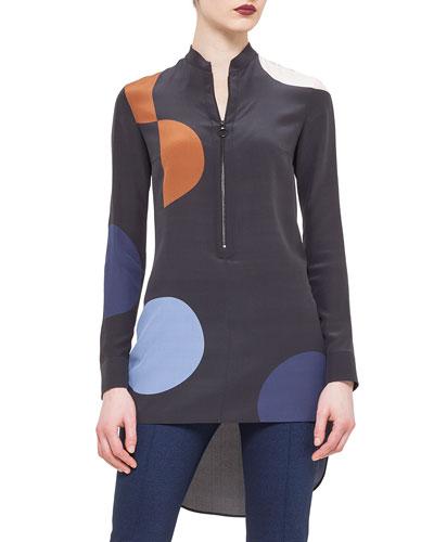 Polka-Dot Zip-Front Tunic, Black/Multi