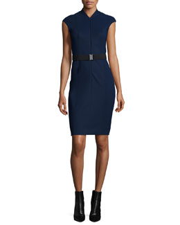 Cap-Sleeve Front-Zip Belted Sheath Dress, Blue