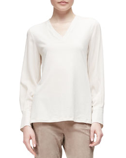 V-Neck Crepe-Sleeve Combo Top