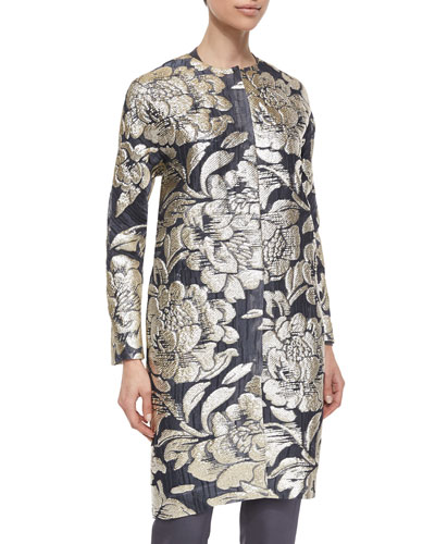 Floral Metallic Fil Coupe Topper Coat, Gold/Black