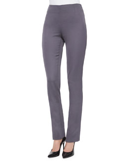 Stretch Sateen Side-Zip Pants, Charcoal