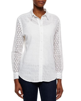 Brett Lace Combo Button Blouse, White