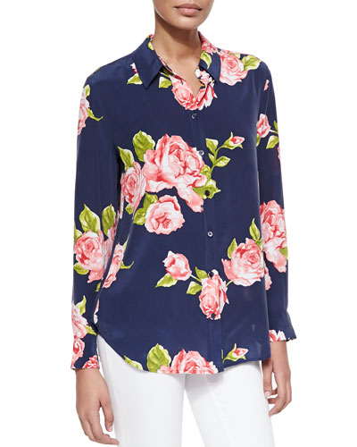 Reese Floral-Print Silk Blouse