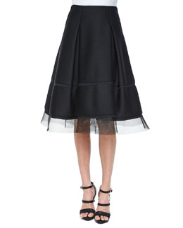 Sculpted Tulle-Trimmed Full Skirt