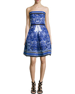 Strapless Floral-Print Cocktail Dress, Blue/White