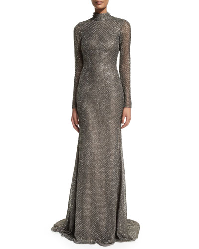 Honeycomb-Beaded Open-Back Silk Gown, Pewter