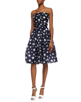 Strapless Star-Print Pleated Cocktail Dress