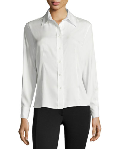 Silk-Blend Button-Down Top, Ivory