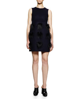 Faux-Fur Pompom Tunic/Dress, Navy
