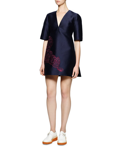 Contrast Tiger-Embroidered Structured Dress