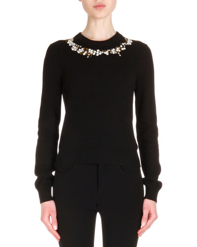 Cashmere-Blend Floral Neckline Long-Sleeve Sweater, Black