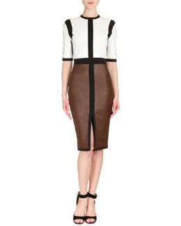 Leather Colorblock Dress, White/Brown