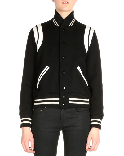 Leather-Trimmed Woven Bomber Jacket