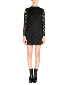Jeweled-Neck Floral Lace Dress