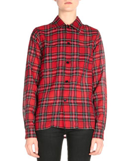 Plaid Lightweight Button Blouse