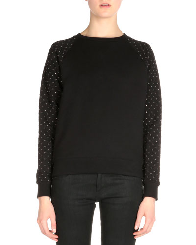 Crystal-Embellished Raglan-Sleeve Sweater