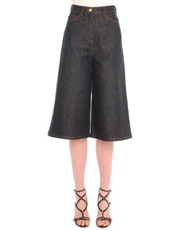Stretch Denim Culotte Pants