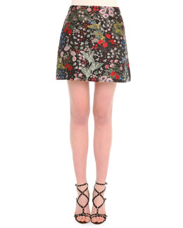 Garden-Print Brocade Mini Skirt