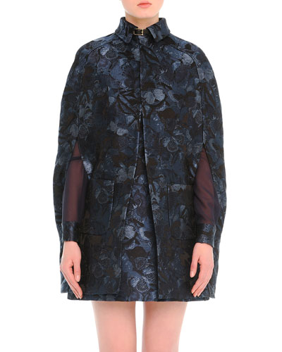 Camu Butterfly-Print Brocade Cape
