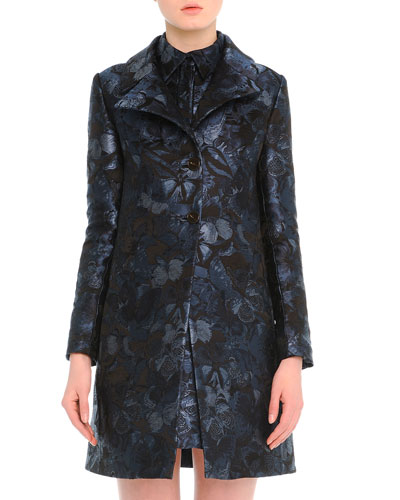 Butterfly-Print Brocade Jacket