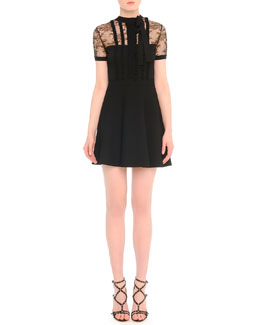 Lace-Inset Ruffled-Bib Dress