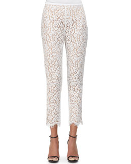 Floral Lace Scalloped Skinny Pants, White