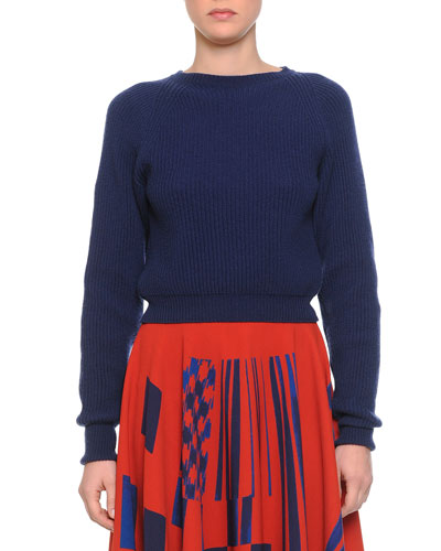 Cashmere Boat-Neck Chunky Knit Sweater